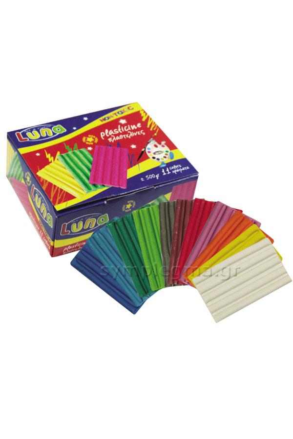 Πλαστελίνη Luna 500gr πακέτο 11 χρωμάτων 0039409