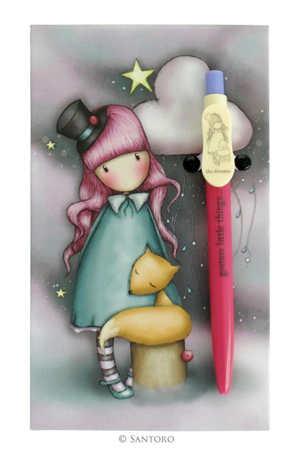 Μπλοκ με στυλό ψαροκολλητό Santoro gorjuss - The dreamer 429GJ01