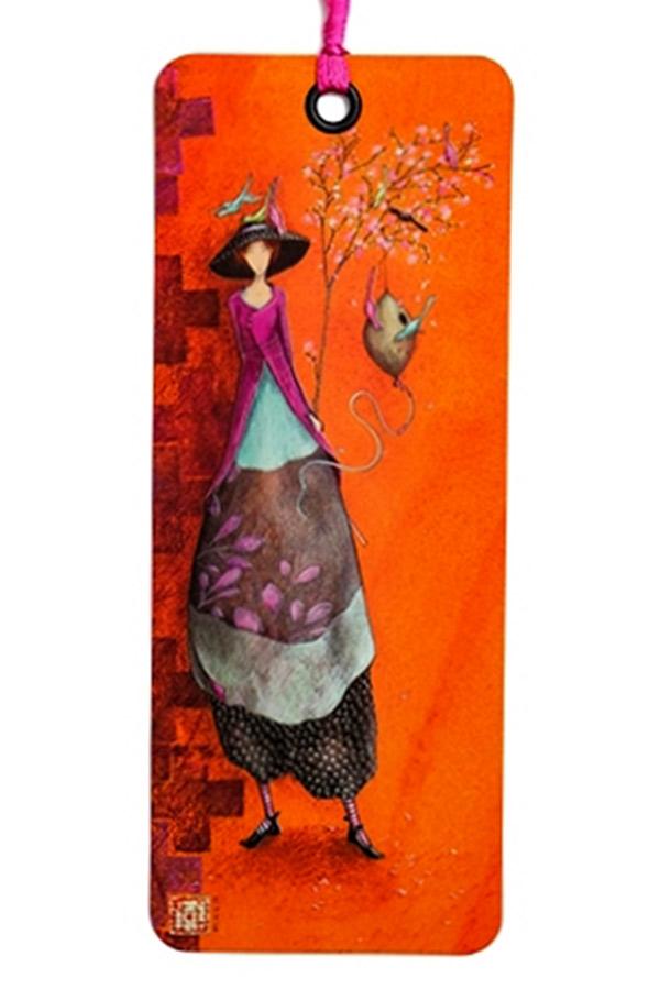 Σελιδοδείκτης χάρτινος Aquarupella Γυναίκα με πουλιά 15721