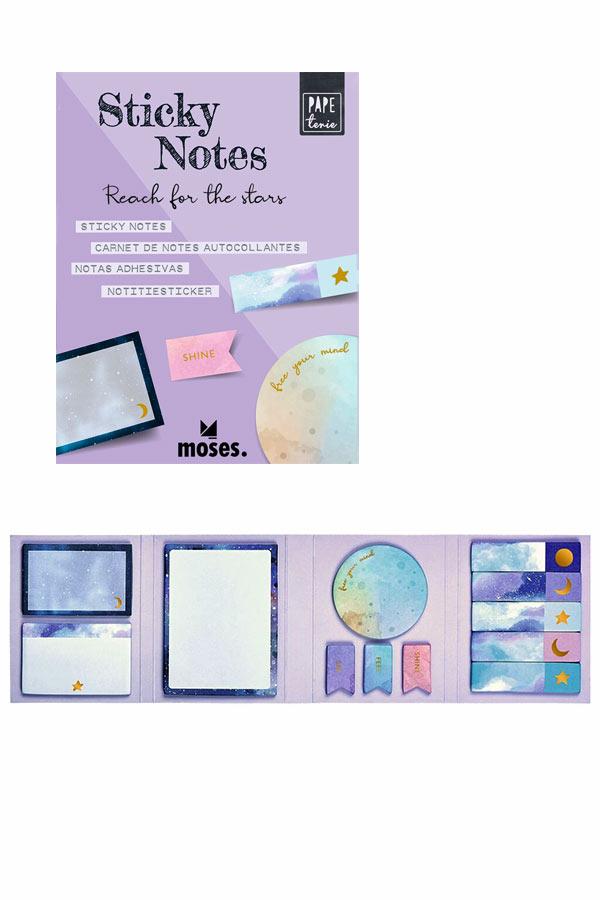Σετ αυτοκόλλητα χαρτάκια σημειώσεων και σελιδοδείκτες Γαλαξίας moses 80867