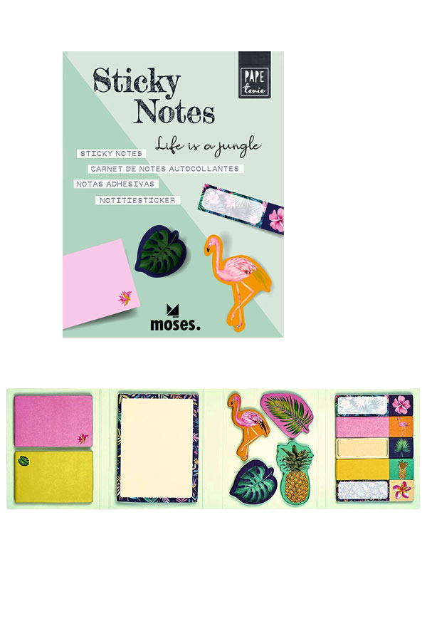 Σετ αυτοκόλλητα χαρτάκια σημειώσεων και σελιδοδείκτες Τροπικά moses 80867