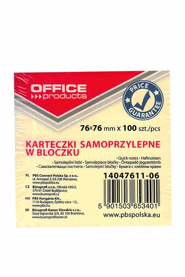 Αυτοκόλλητα χαρτάκια 76x76mm κίτρινα 100 φύλλα OFFICE products 14047611-06