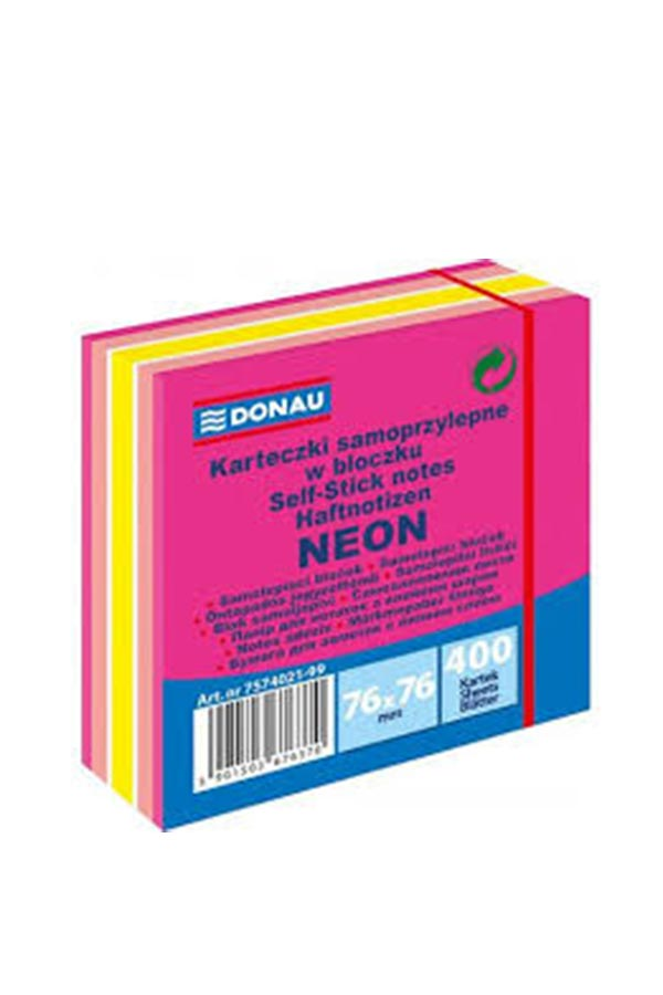 Αυτοκόλλητα χαρτάκια 76x76mm πολύχρωμα 400 φύλλα DONAU 7574021-99