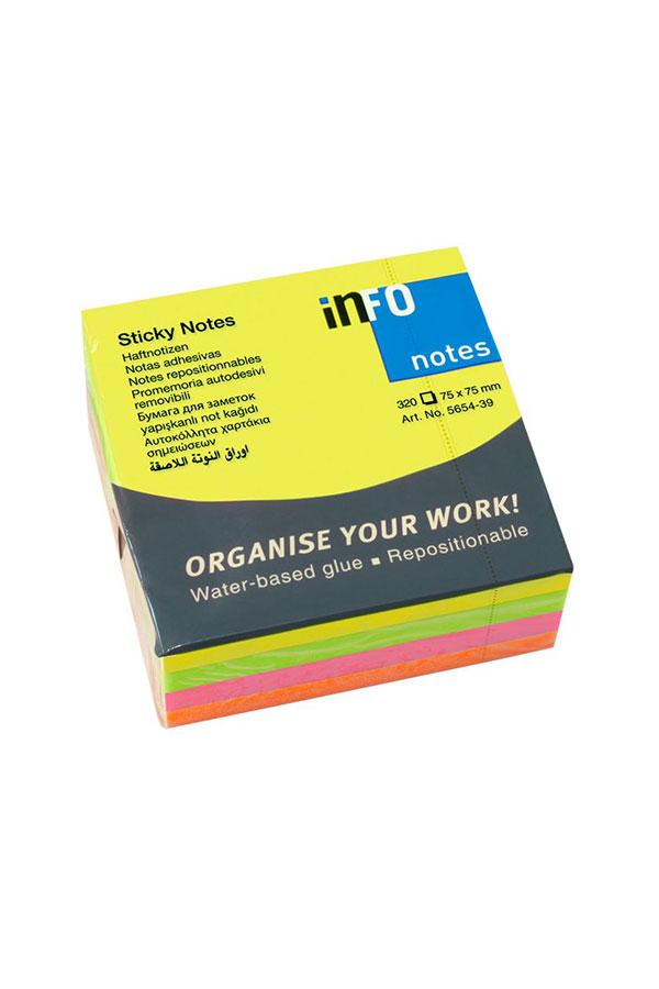 Αυτοκόλλητα χαρτάκια 75x75 neon πολύχρωμα Brilliant Info Notes 5654-39