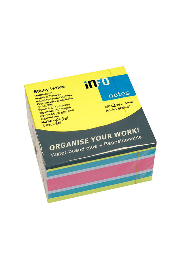 Αυτοκόλλητα χαρτάκια 75x75 neon πολύχρωμα Brilliant Info Notes 5654-51