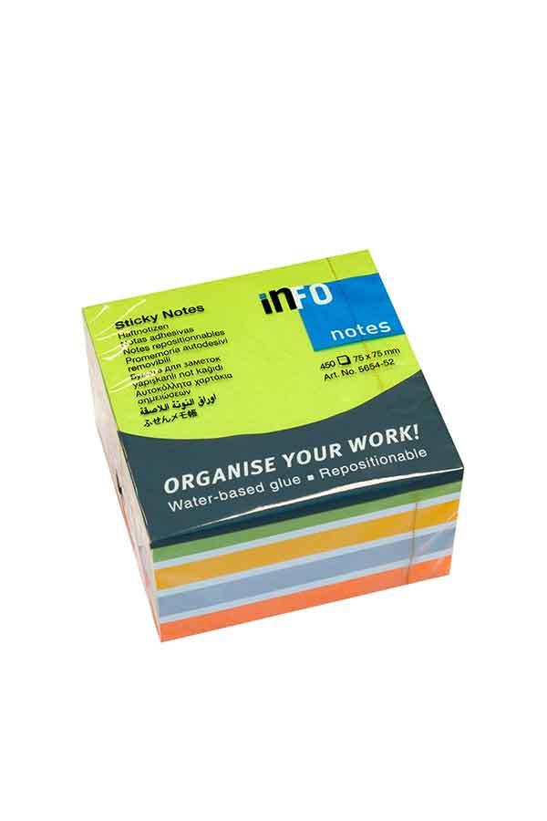 Αυτοκόλλητα χαρτάκια 75x75 πολύχρωμα Brilliant Info Notes 5654-52
