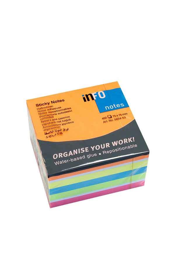 Αυτοκόλλητα χαρτάκια 75x75 πολύχρωμα 450 φύλλα Brilliant Info Notes 5654-53