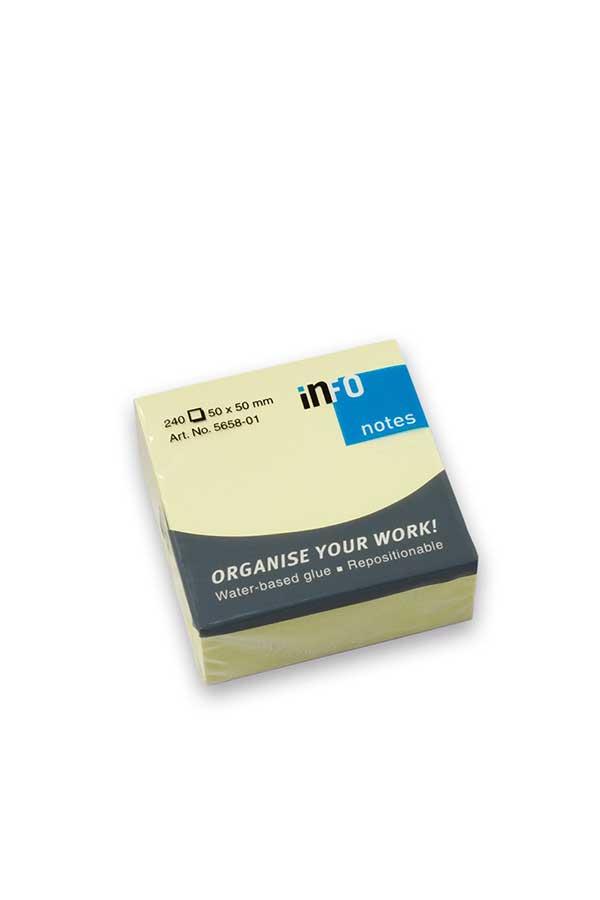 Αυτοκόλλητα χαρτάκια 50x50mm κίτρινα 240 φύλλα Info Notes 5658-01
