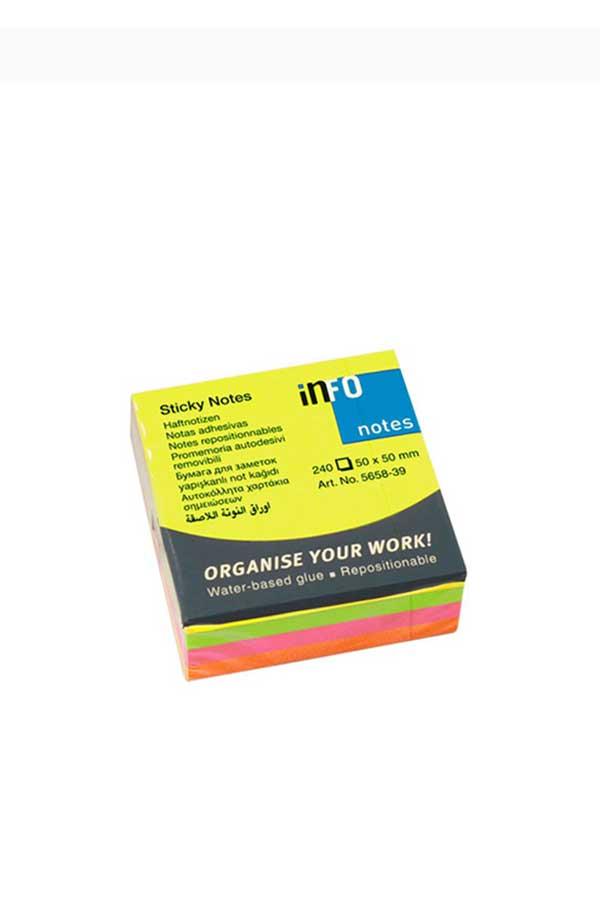 Αυτοκόλλητα χαρτάκια 50x50mm πολύχρωμα 240 φύλλα Info Notes 5658-39