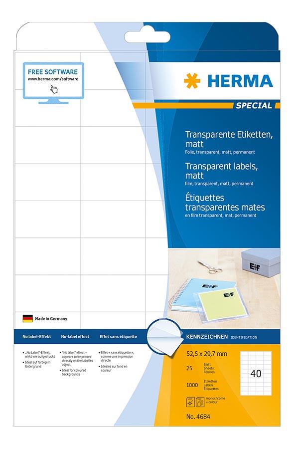 Αυτοκόλλητες ετικέτες διάφανες ματ με πλαστικό φίλμ 52,5x29,7mm 25φ Α4 HERMA 4684