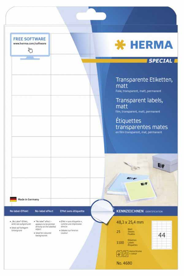 Αυτοκόλλητες ετικέτες Α4 διάφανες ματ 48,3x25,4mm 25φ HERMA 4680