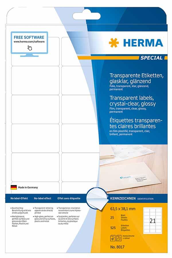Αυτοκόλλητες ετικέτες Α4 διάφανες glossy 63,5x38,1mm 25φ HERMA 8017