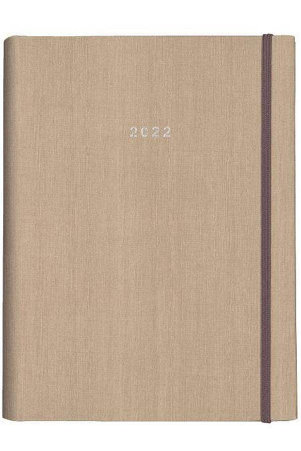 Ημερολόγιο 2022 ημερήσιο κρυφό σπιράλ 17x24cm Fabric μπεζ next 02013-24