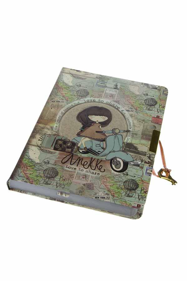 Σημειωματάριο ημερολόγιο με κλειδί 14x19cm Anekke Traveller 23710D1