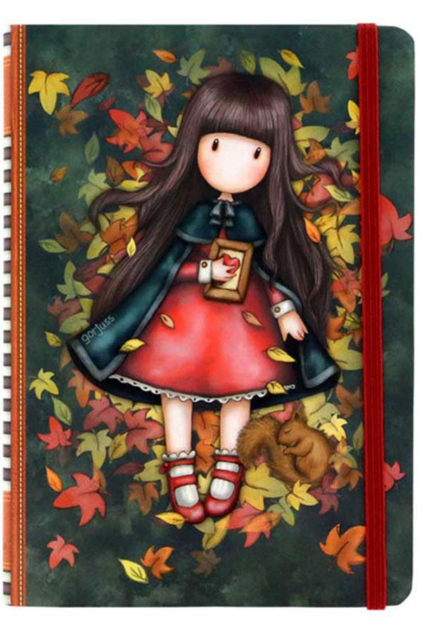Santoro gorjuss Σημειωματάριο με λάστιχο 14x19,5cm - Autumn leaves 230EC62
