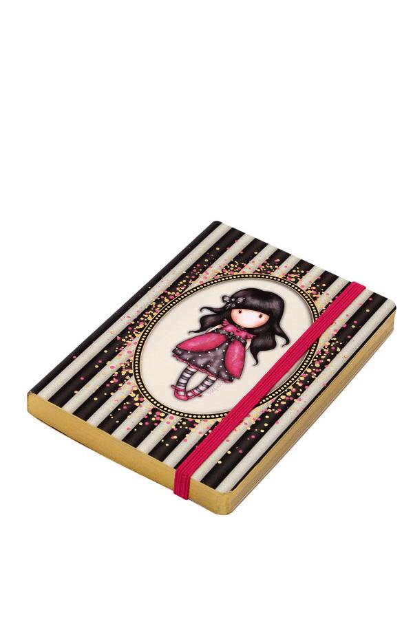 Santoro gorjuss σημειωματάριο με λάστιχο μικρό Classic Stripe - Ladybird 766GJ01