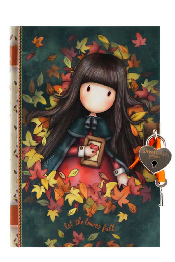 Santoro gorjuss Σημειωματάριο ημερολόγιο με κλειδί 14x20,5cm - Autumn leaves 815GJ05