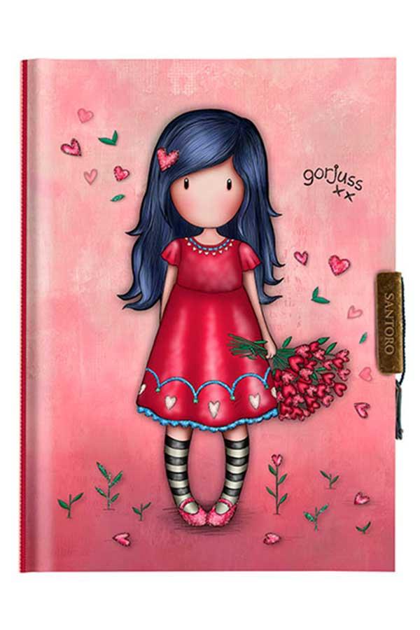 Santoro gorjuss Σημειωματάριο ημερολόγιο με κλειδί 13x18cm Love Grows 577GJ17