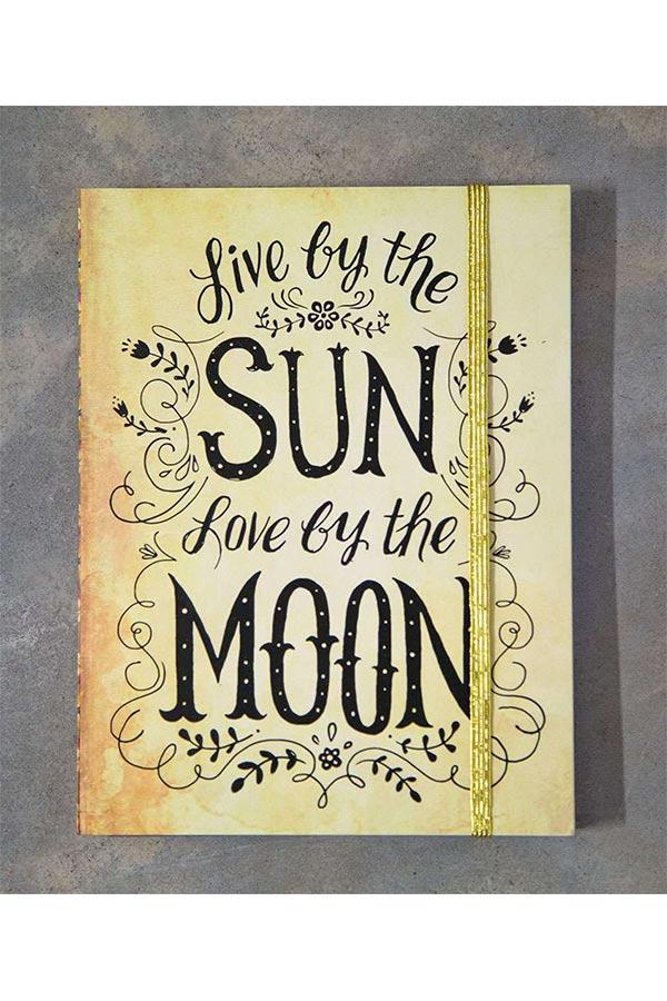Σημειωματάριο με λάστιχο Natural Life - Live by the sun Love by the moon JRNL023