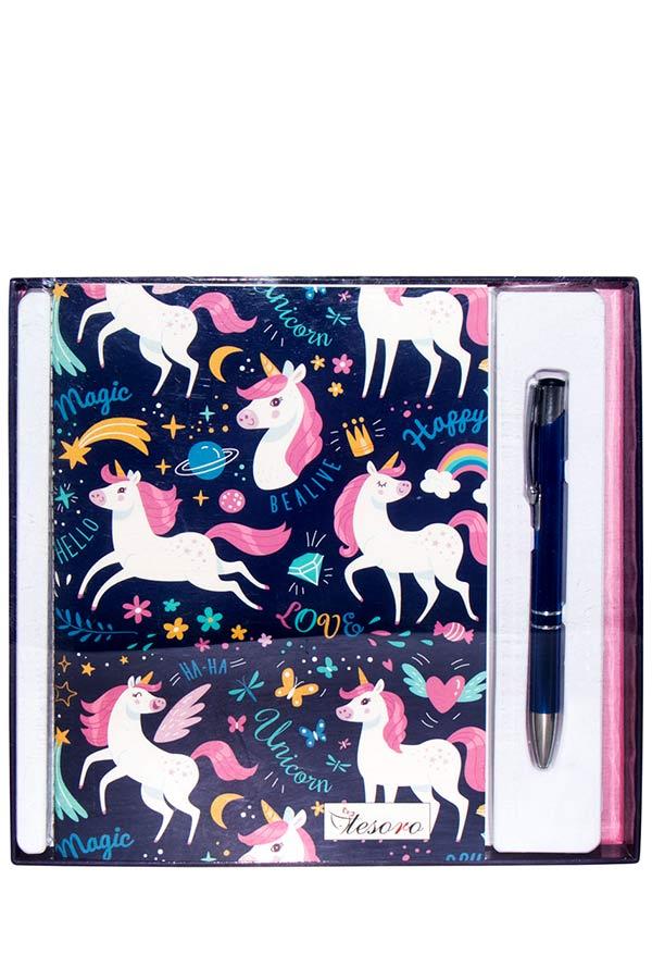 Σετ σημειωματάριο και στυλό Tesoro Unicorn 000582250