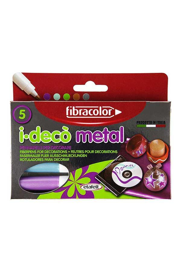 Μαρκαδόροι ζωγραφικής fibracolor ideco metal 5 χρωμάτων 10640MZ005SE