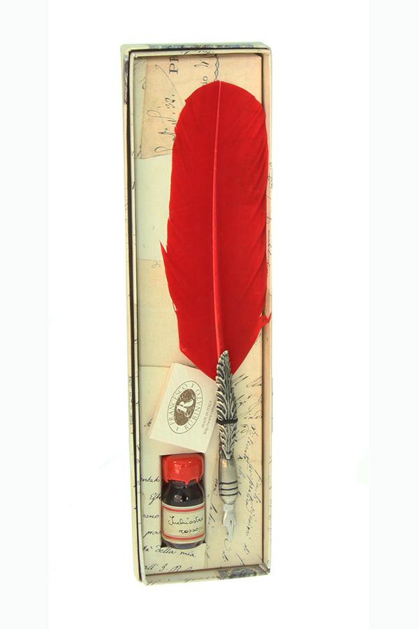 Κοντυλοφόρος με φτερό σετ μελάνι κόκκινο Francesco Rubinato 7027