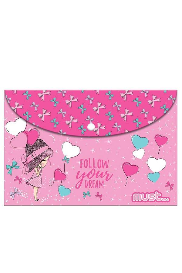 Φάκελος με κουμπί Α4 must Follow you dream 000584291