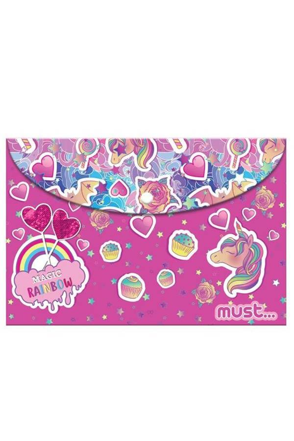 Φάκελος με κουμπί Α4 must Magic Rainbow 000584290
