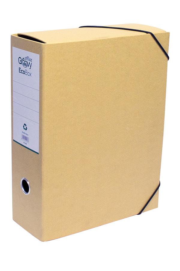 Ντοσιέ λάστιχο 25x35x10cm EcoBox office Groovy κραφτ 0.72.063