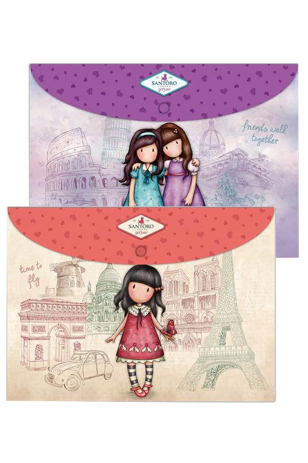 Φάκελοι με κουμπί σετ 2 τεμ Santoro gorjuss - Time to fly και Friends walk together 669GJS04