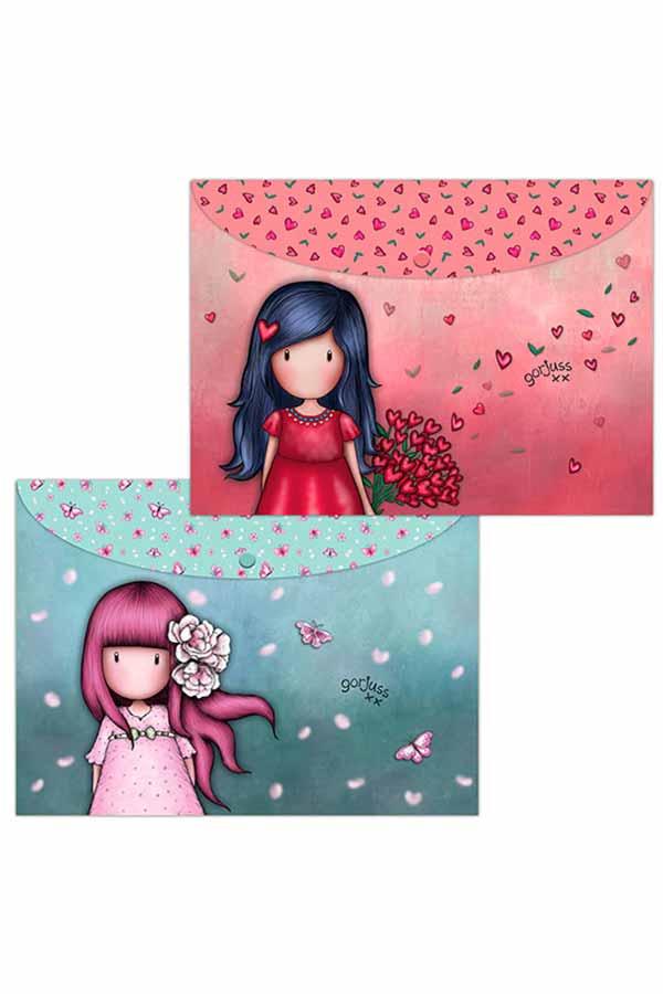 Santoro gorjuss Φάκελοι με κουμπί σετ 2 τεμ Love Grows και Cherry Blossom 669GJS08