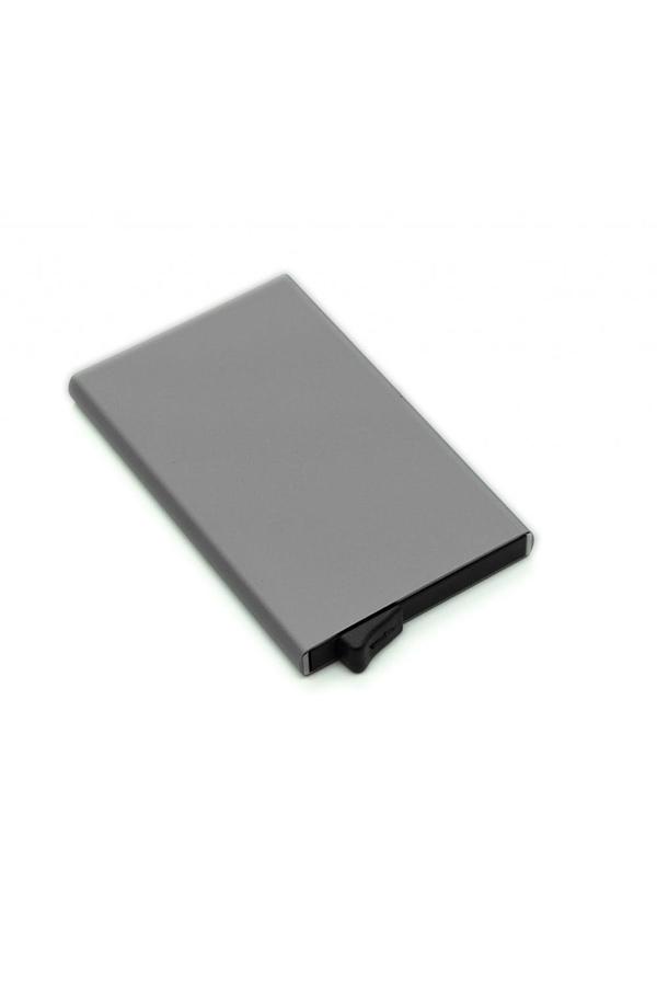 Θήκη πιστωτικών καρτών μεταλλική Pop-Up i-total γκρι σκούρο CM3197