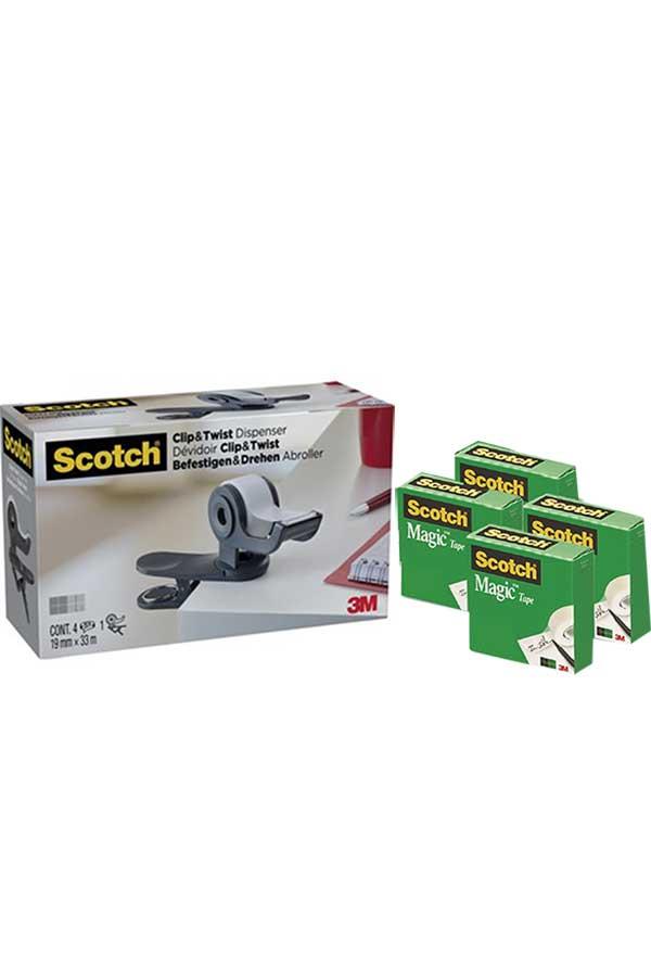 Βάση σελοτέιπ Scotch Clip and Twist με δώρο 4 κουτιά Magic tape 3M