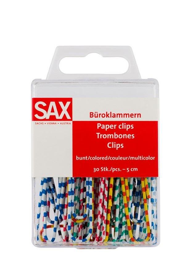 Συνδετήρες SAX πολύχρωμοι ριγέ 33mm 5-809-00