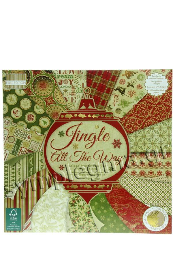 Χαρτόνια scrapbooking Χριστουγεννιάτικα 31x31cm First edition Jingle all the way C119211