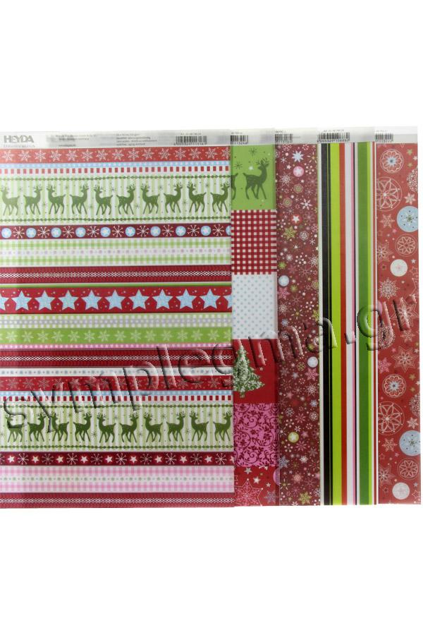 Σετ χαρτόνια και ριζόχαρτα 21x30 Χριστουγεννιάτικα σχέδια HEYDA 20-4772699