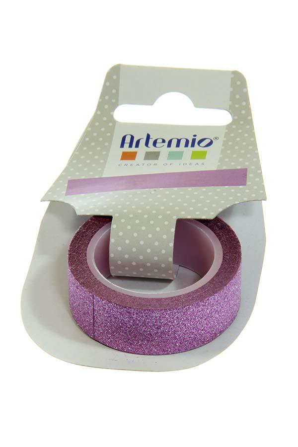 Διακοσμητική ταινία αυτοκόλλητη glitter Artemio βιολετί 11004591