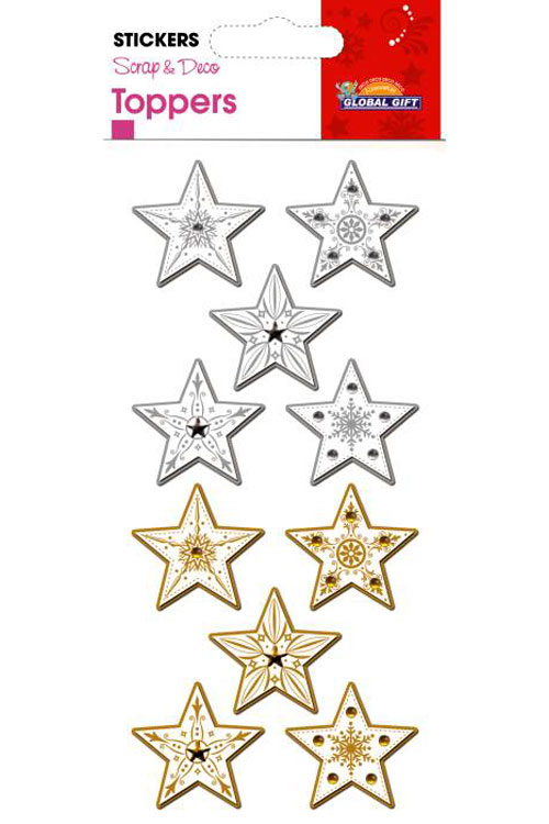 Αυτοκόλλητα Χριστουγεννιάτικα 3D αστέρια Global gift 510034