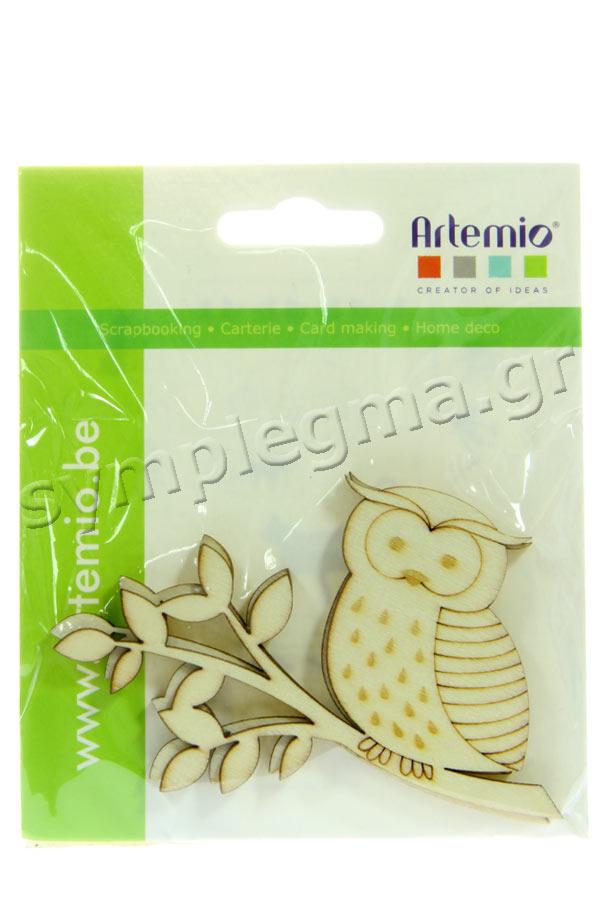 Ξύλινα διακοσμητικά Κουκουβάγια 3τμχ Artemio 14002051