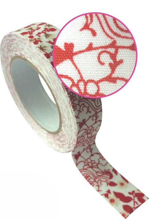 Ταινία υφασμάτινη αυτοκόλλητη Washi tape εμπριμέ λουλούδια Graines creatives 193521