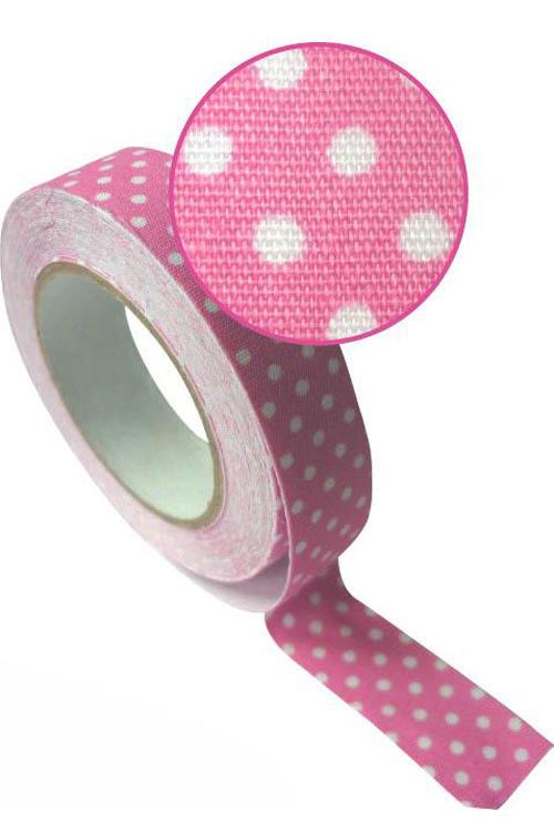 Ταινία υφασμάτινη αυτοκόλλητη Washi tape πουά ροζ Graines creatives 193510