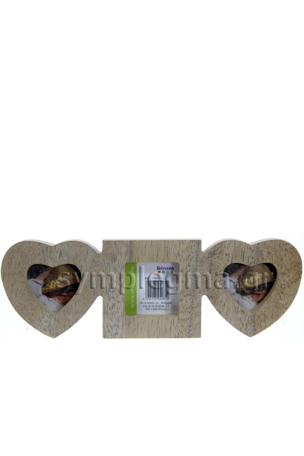 Κορνίζα ξύλινη 3 θέσεις καρδιές 23,5x8cm Artemio 14001512