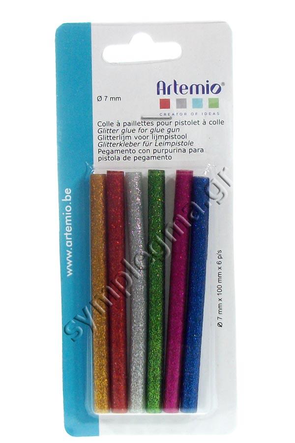 Ράβδοι σιλικόνης glitter 7mm Artemio 6 τμχ 18003020