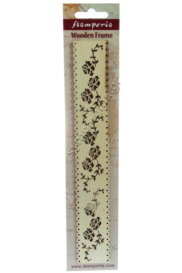 Μπορντούρα ξύλινη τριαντάφυλλα 25x3,8cm Stamperia KLS205