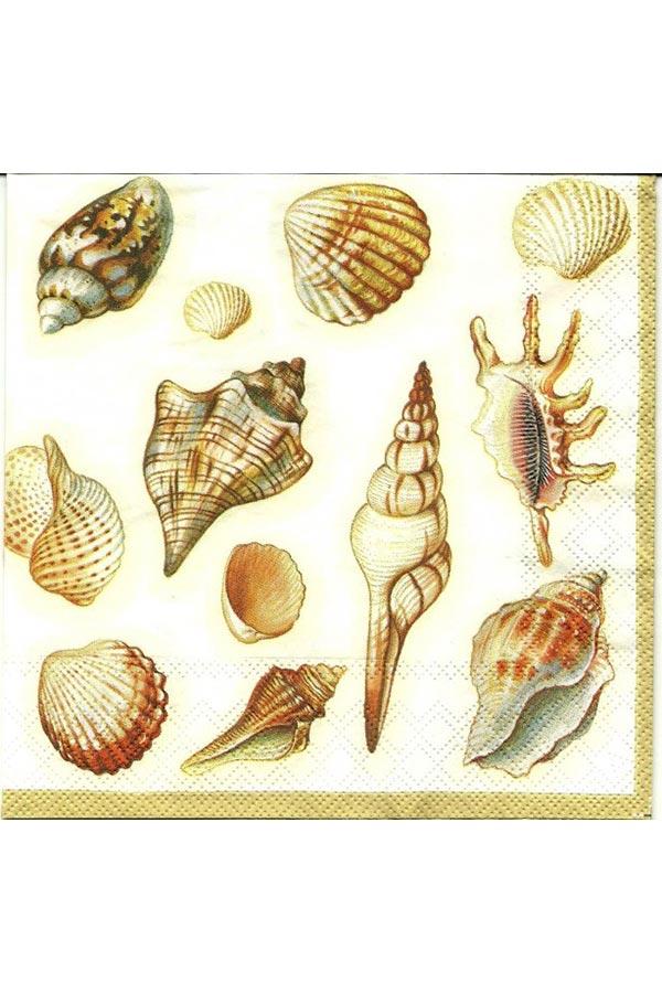 Χαρτοπετσέτα Decoupage Ambiente 25x25 1τμχ Shells cream 13306865
