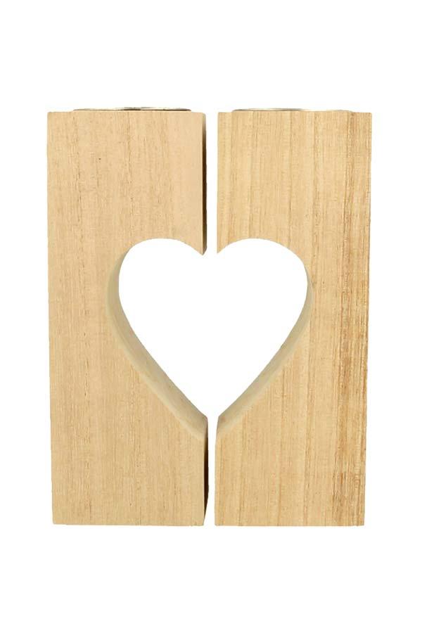 Ξύλινο κηροπήγιο καρδιά Artemio 14002616