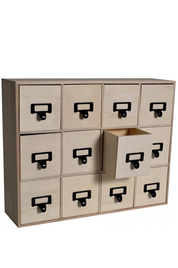 Ξύλινη συρταριέρα Artemio 41,5x32,5x11cm 12 συρτάρια 14002740