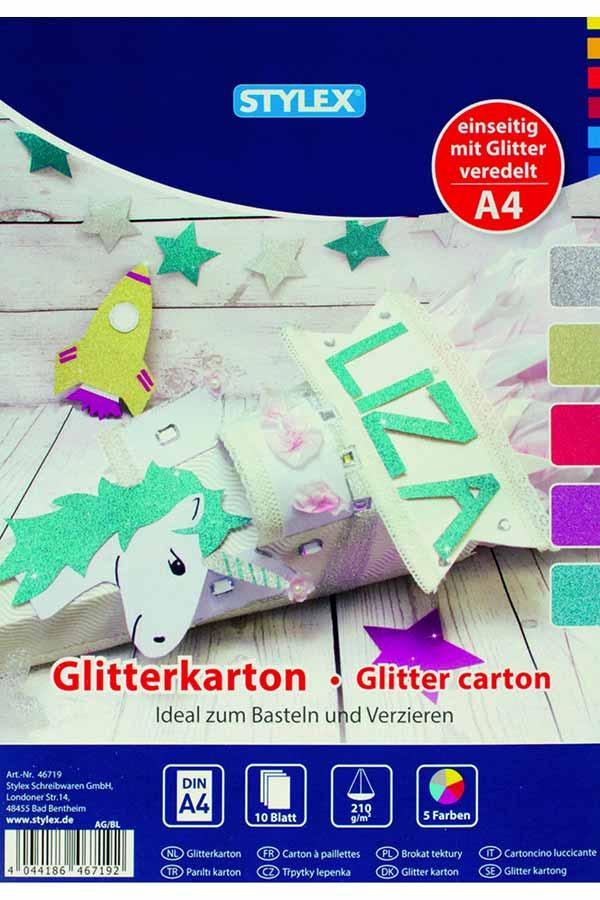 Χαρτόνια glitter Α4 210gr STYLEX 46719