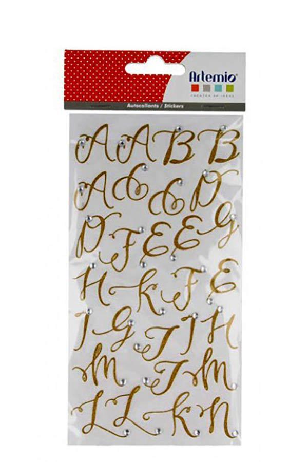 Αυτοκόλλητα γράμματα glitter χρυσό 58 τεμ Artemio 11004571