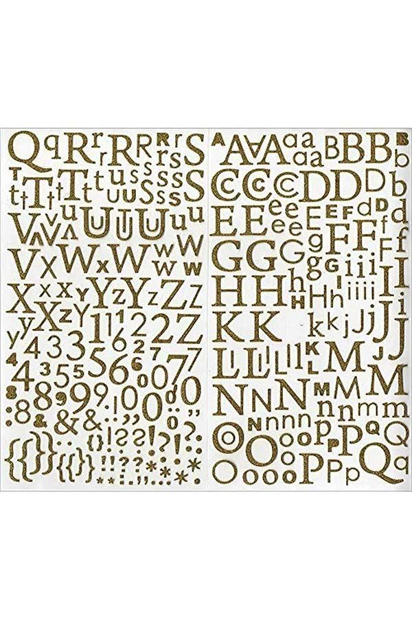 Αυτοκόλλητα γράμματα glitter χρυσό 300 τεμ Artemio 11004047